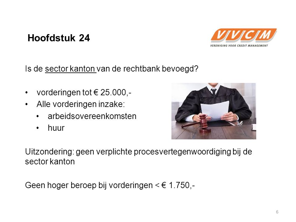 Hoofdstuk 24 Is de sector kanton van de rechtbank bevoegd