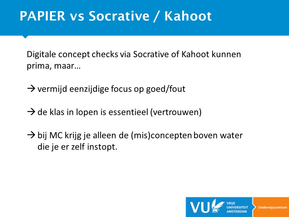 PAPIER vs Socrative / Kahoot