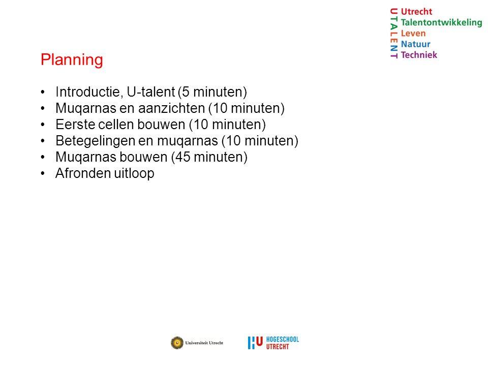 Planning Introductie, U-talent (5 minuten)