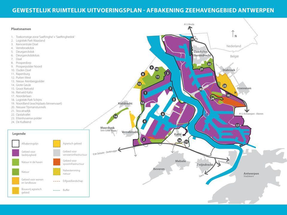 Principes: Grenzen van de haven vastleggen. Haveninbreiding. Havenuitbreiding – LSO, ten koste van Doel, Saftingen, Ouden Doel en Rapenburg.