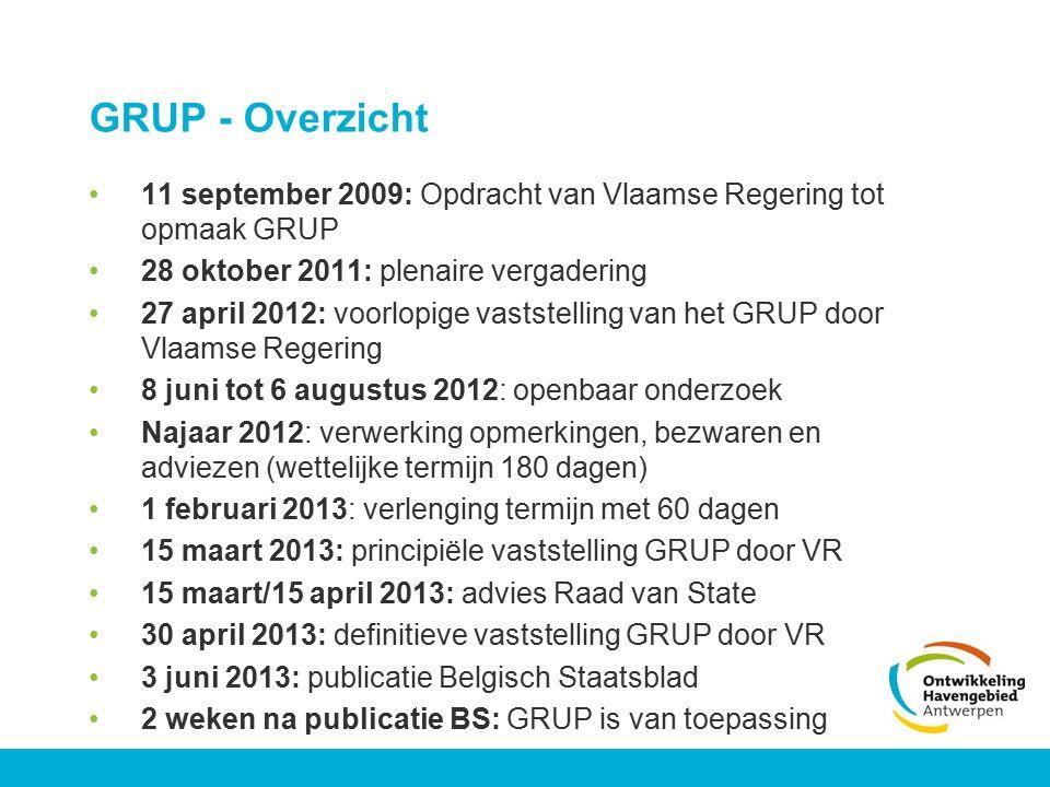 GRUP - Overzicht 11 september 2009: Opdracht van Vlaamse Regering tot opmaak GRUP. 28 oktober 2011: plenaire vergadering.