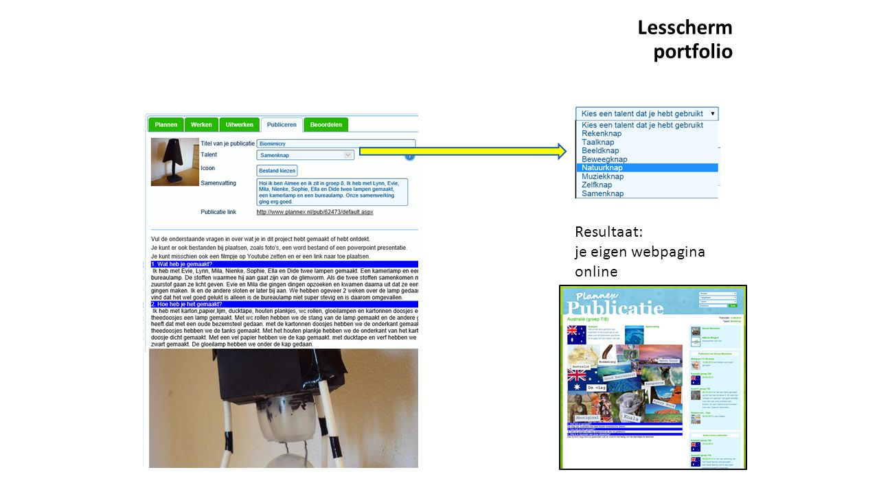 Lesscherm portfolio Resultaat: je eigen webpagina online