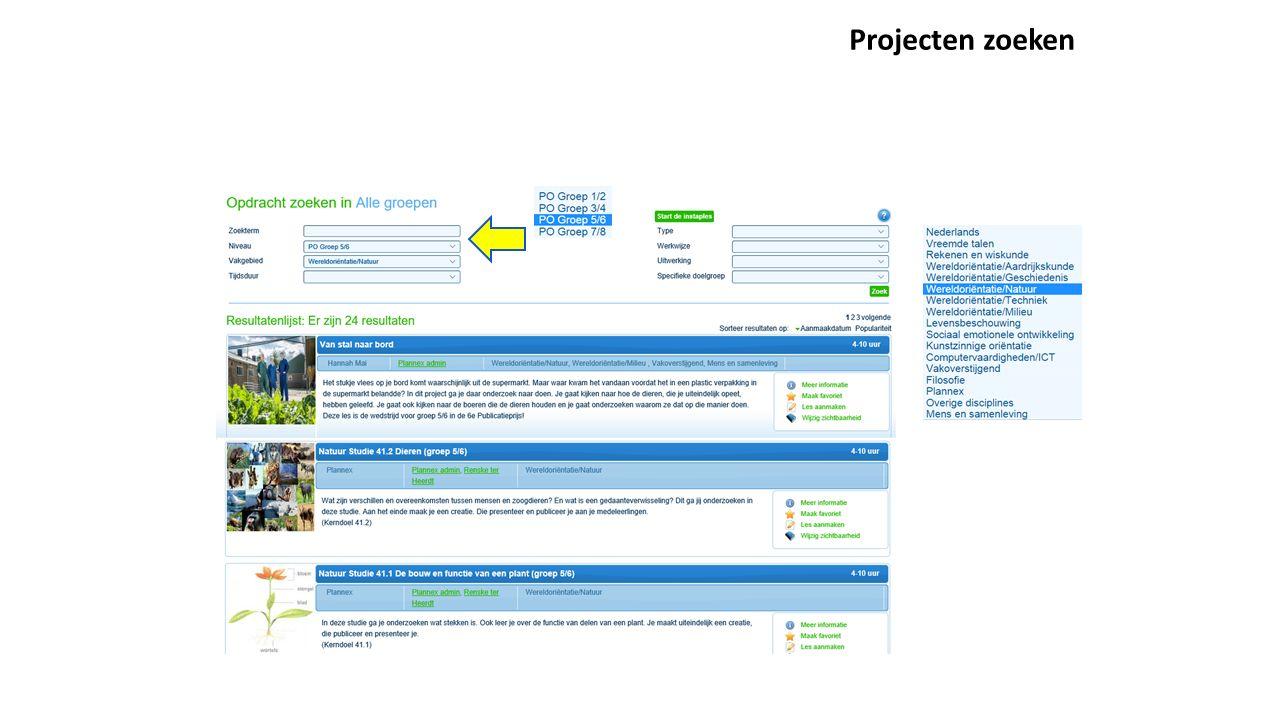 Projecten zoeken
