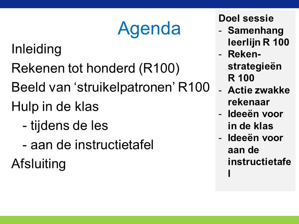 Agenda Doel sessie. Samenhang leerlijn R 100. Reken- strategieën R 100. Actie zwakke rekenaar.