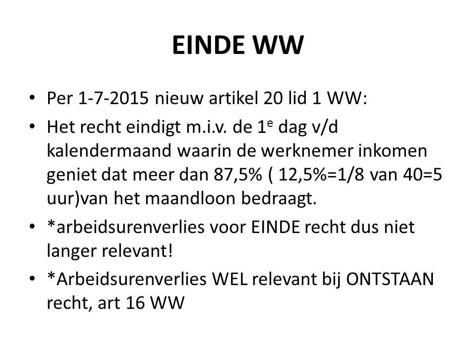 EINDE WW Per 1-7-2015 nieuw artikel 20 lid 1 WW: