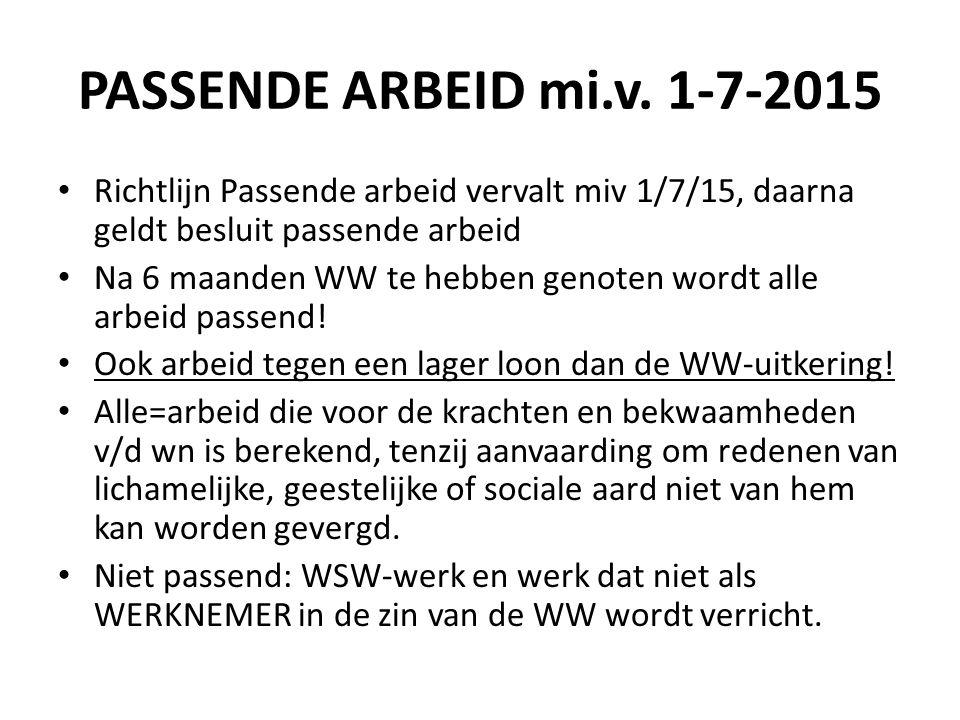 PASSENDE ARBEID mi.v. 1-7-2015 Richtlijn Passende arbeid vervalt miv 1/7/15, daarna geldt besluit passende arbeid.
