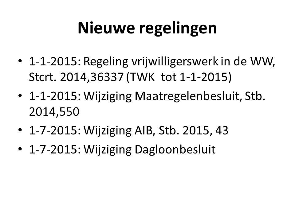 Nieuwe regelingen 1-1-2015: Regeling vrijwilligerswerk in de WW, Stcrt. 2014,36337 (TWK tot 1-1-2015)