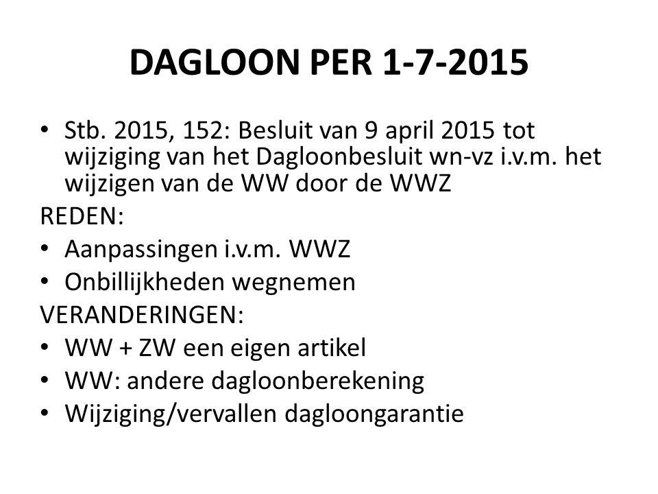 DAGLOON PER 1-7-2015 Stb. 2015, 152: Besluit van 9 april 2015 tot wijziging van het Dagloonbesluit wn-vz i.v.m. het wijzigen van de WW door de WWZ.