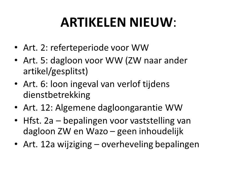 ARTIKELEN NIEUW: Art. 2: referteperiode voor WW