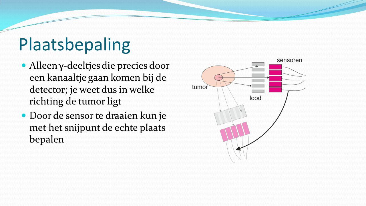 Plaatsbepaling Alleen γ-deeltjes die precies door een kanaaltje gaan komen bij de detector; je weet dus in welke richting de tumor ligt.