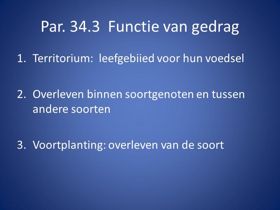 Par. 34.3 Functie van gedrag 1. Territorium: leefgebiied voor hun voedsel. 2. Overleven binnen soortgenoten en tussen andere soorten.