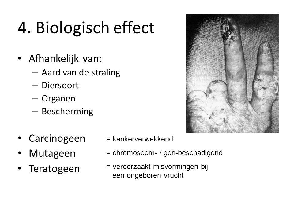 4. Biologisch effect Afhankelijk van: Carcinogeen Mutageen Teratogeen