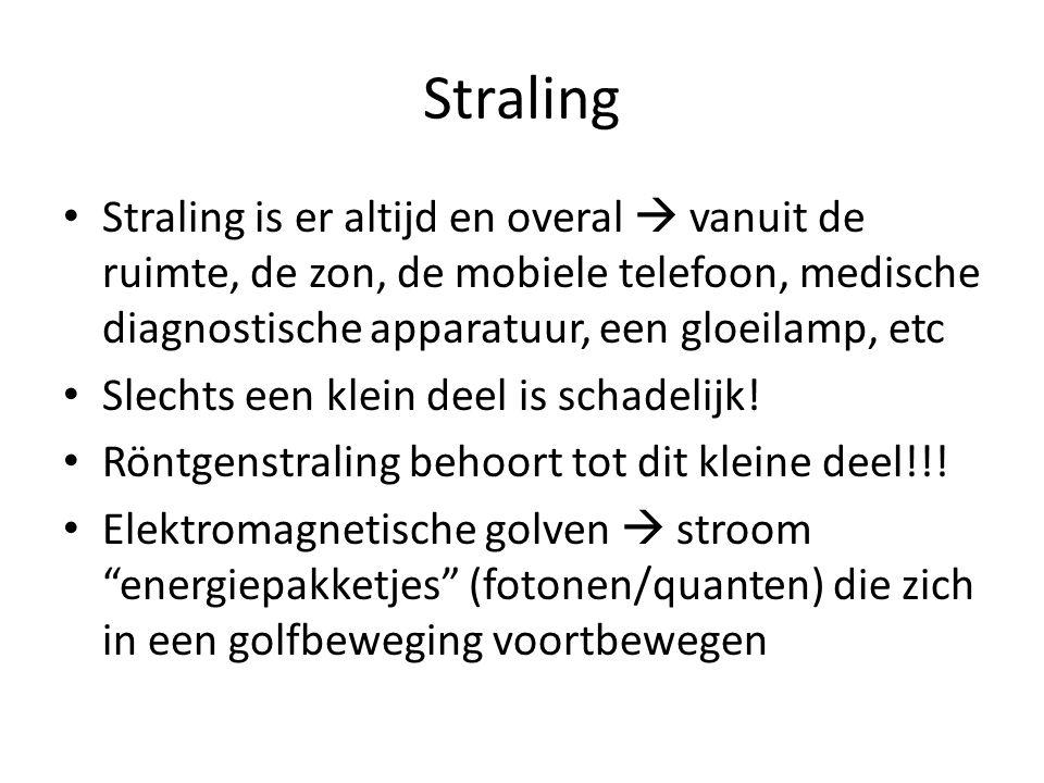 Straling Straling is er altijd en overal  vanuit de ruimte, de zon, de mobiele telefoon, medische diagnostische apparatuur, een gloeilamp, etc.