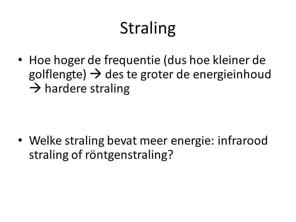 Straling Hoe hoger de frequentie (dus hoe kleiner de golflengte)  des te groter de energieinhoud  hardere straling.