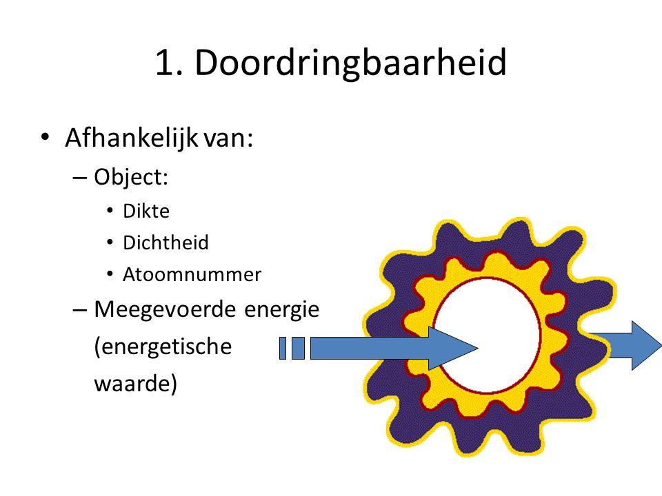 1. Doordringbaarheid Afhankelijk van: Object: Meegevoerde energie