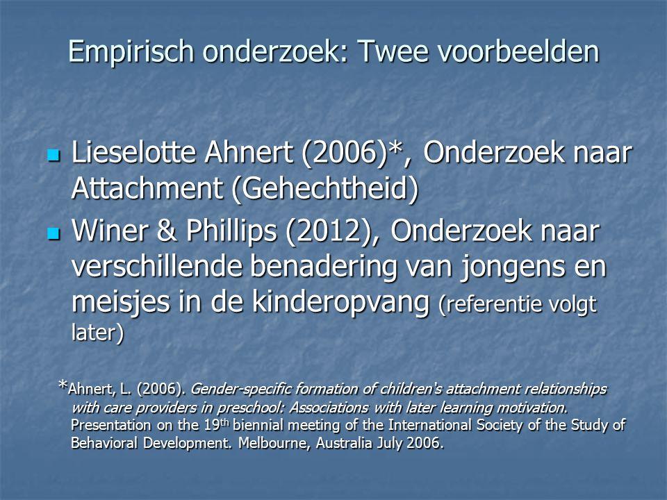 Empirisch onderzoek: Twee voorbeelden