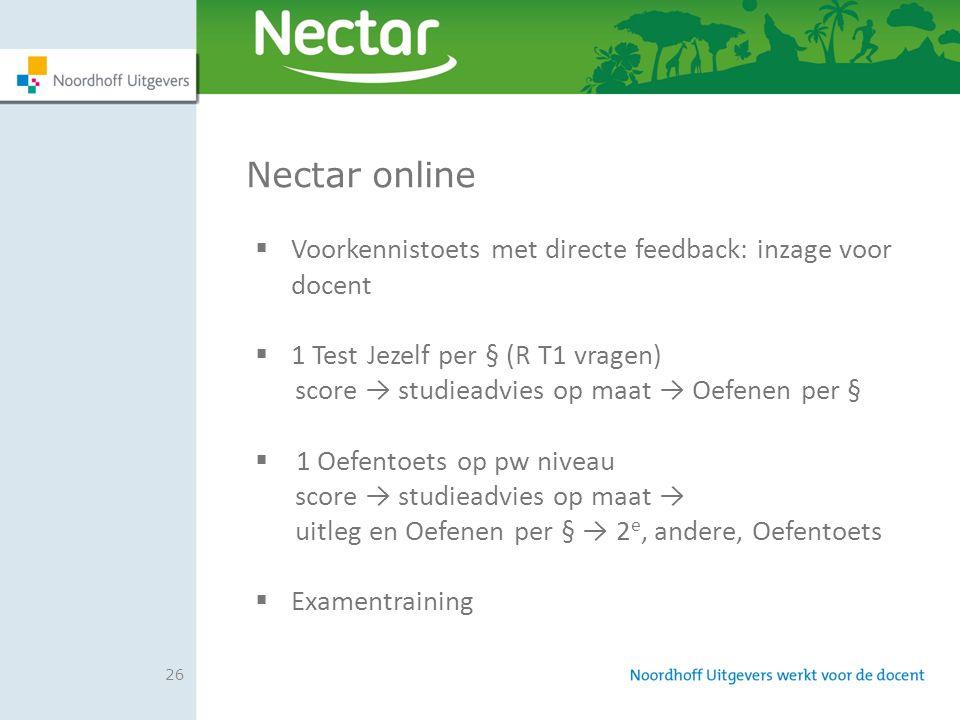 Nectar online Voorkennistoets met directe feedback: inzage voor docent