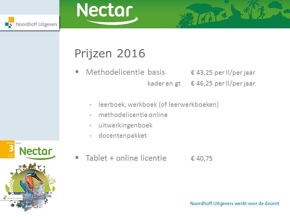 Prijzen 2016 Methodelicentie basis € 43,25 per ll/per jaar