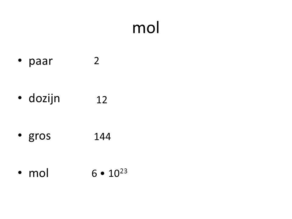 mol paar dozijn gros mol 2 12 144 6 • 1023
