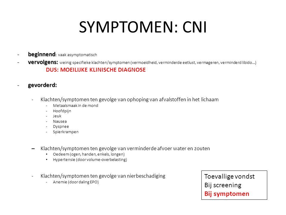 SYMPTOMEN: CNI Toevallige vondst Bij screening Bij symptomen