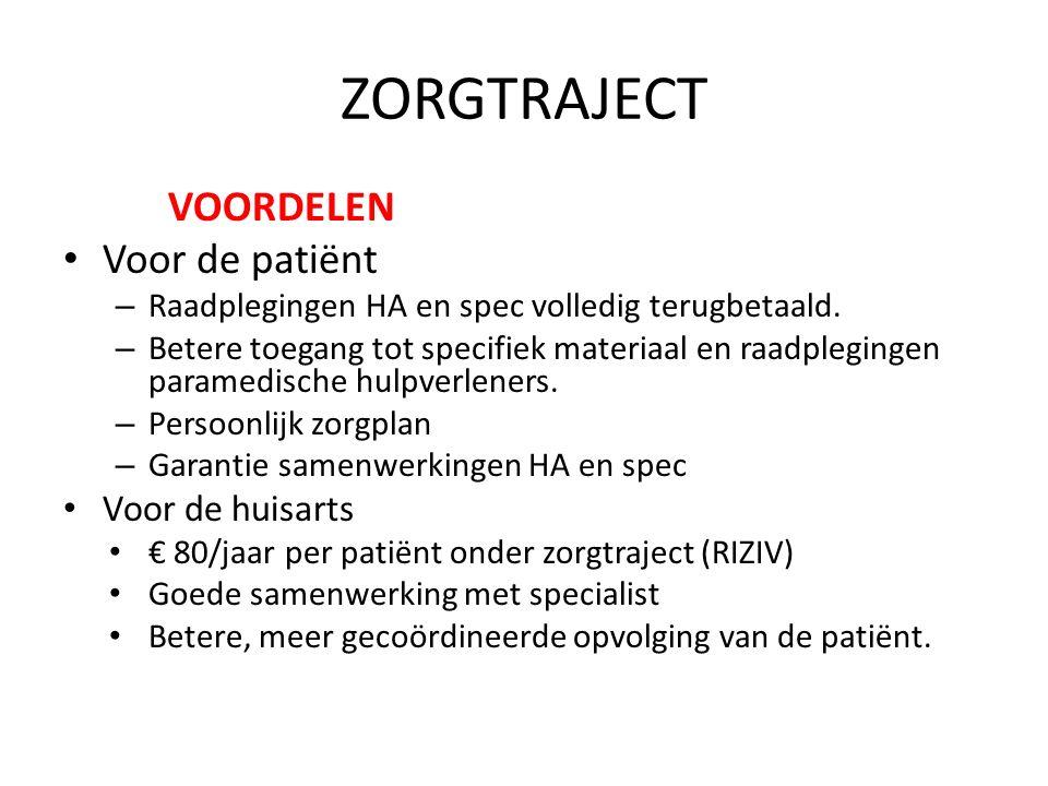 ZORGTRAJECT VOORDELEN Voor de patiënt Voor de huisarts