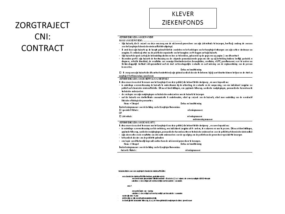 ZORGTRAJECT CNI: CONTRACT