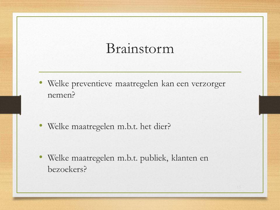 Brainstorm Welke preventieve maatregelen kan een verzorger nemen