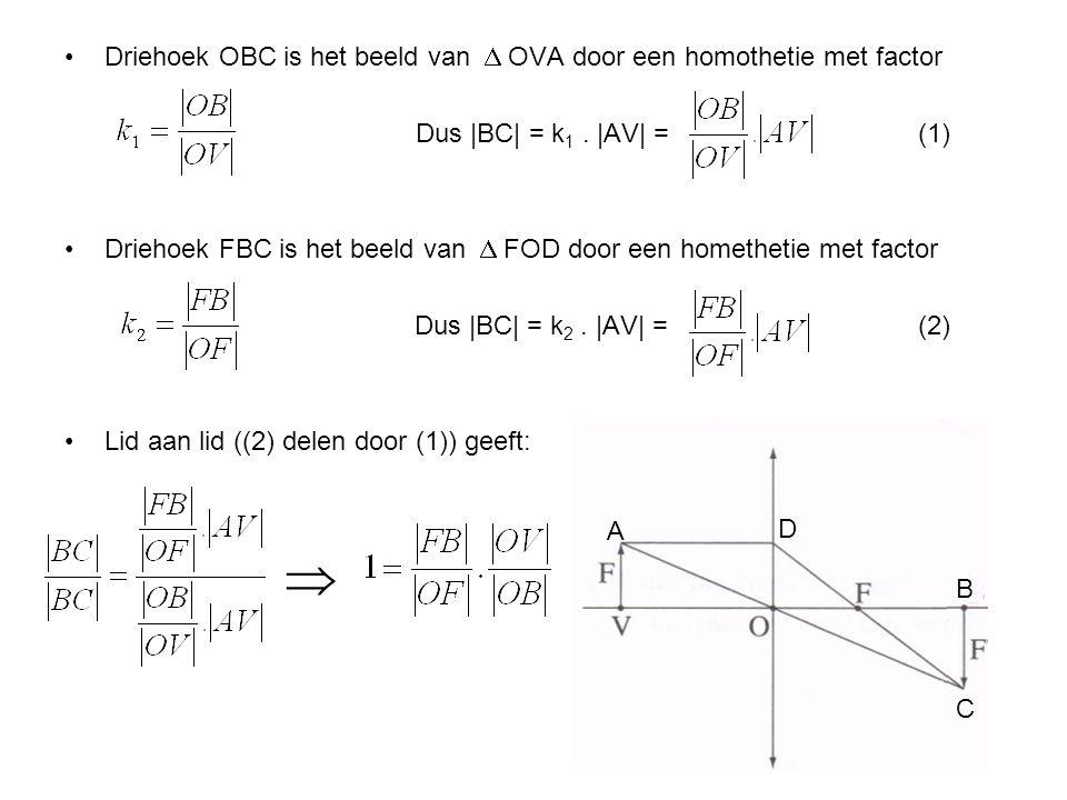  Driehoek OBC is het beeld van  OVA door een homothetie met factor