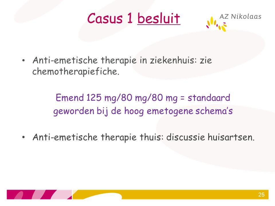 Casus 1 besluit Anti-emetische therapie in ziekenhuis: zie chemotherapiefiche. Emend 125 mg/80 mg/80 mg = standaard.