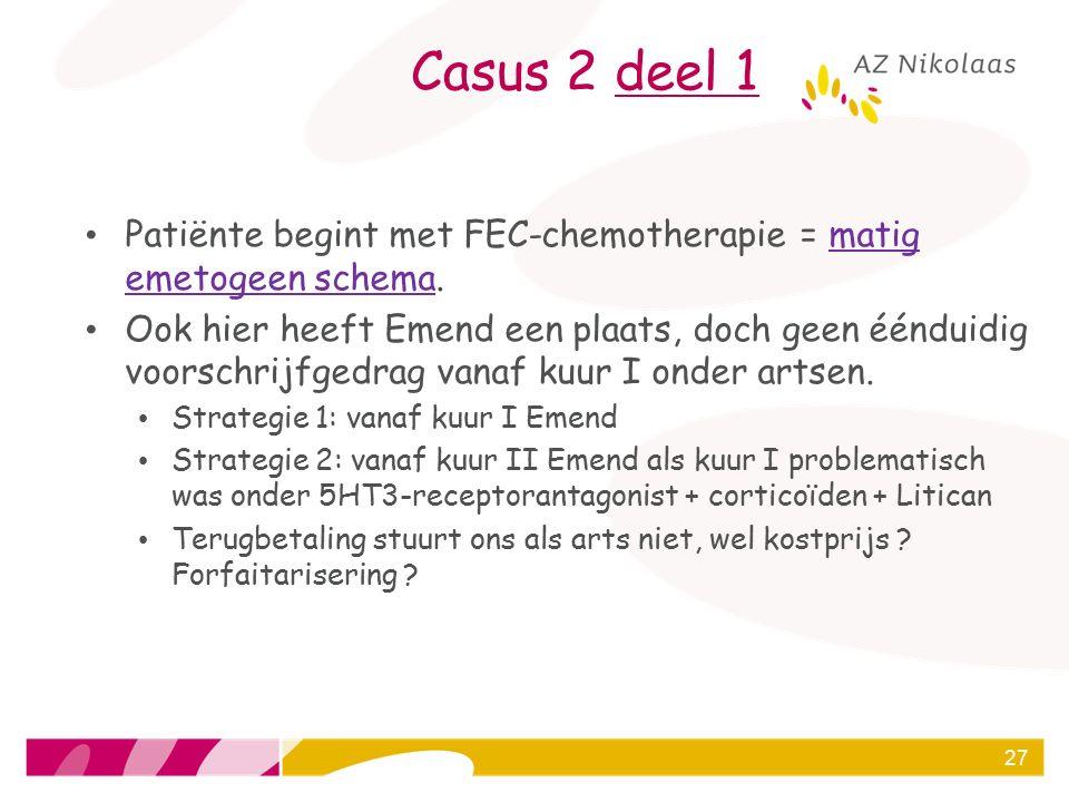 Casus 2 deel 1 Patiënte begint met FEC-chemotherapie = matig emetogeen schema.