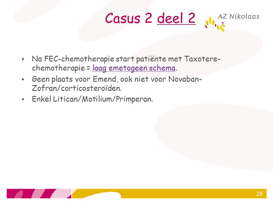 Casus 2 deel 2 Na FEC-chemotherapie start patiënte met Taxotere-chemotherapie = laag emetogeen schema.