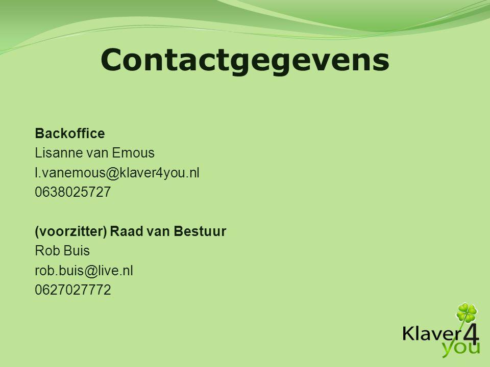Contactgegevens Backoffice Lisanne van Emous l.vanemous@klaver4you.nl
