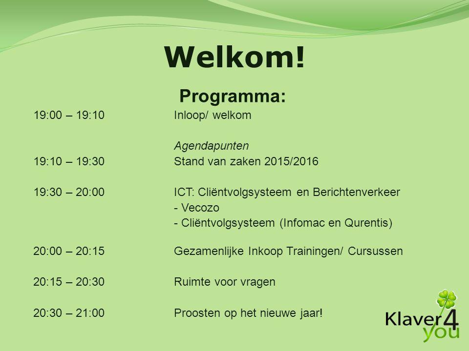 Welkom! Programma: 19:00 – 19:10 Inloop/ welkom Agendapunten