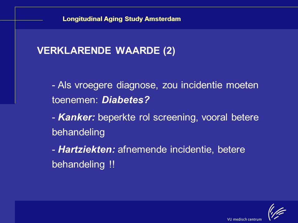 VERKLARENDE WAARDE (2) - Als vroegere diagnose, zou incidentie moeten toenemen: Diabetes