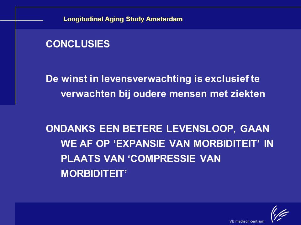 CONCLUSIES De winst in levensverwachting is exclusief te verwachten bij oudere mensen met ziekten.