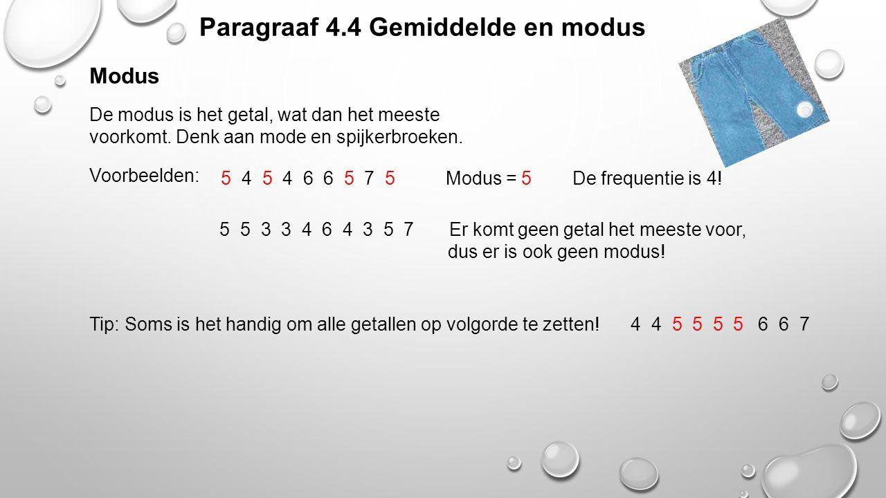 Paragraaf 4.4 Gemiddelde en modus