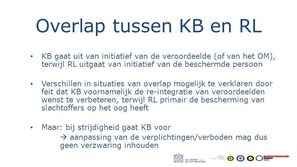 Overlap tussen KB en RL KB gaat uit van initiatief van de veroordeelde (of van het OM), terwijl RL uitgaat van initiatief van de beschermde persoon.