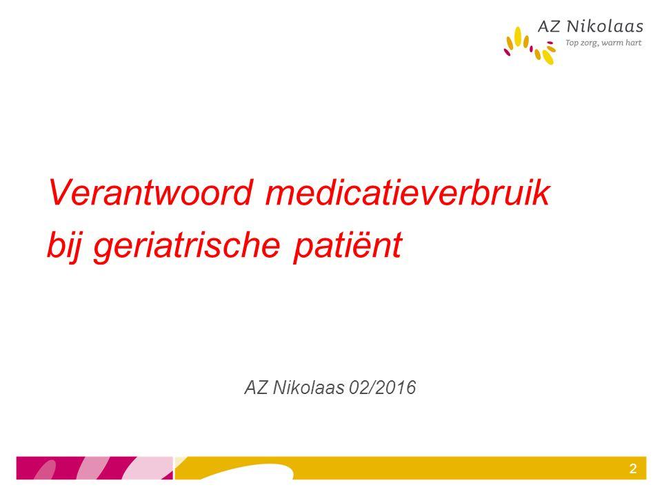 Verantwoord medicatieverbruik bij geriatrische patiënt