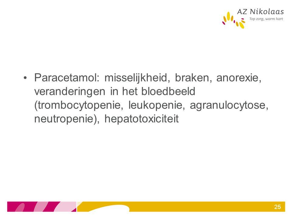 Paracetamol: misselijkheid, braken, anorexie, veranderingen in het bloedbeeld (trombocytopenie, leukopenie, agranulocytose, neutropenie), hepatotoxiciteit