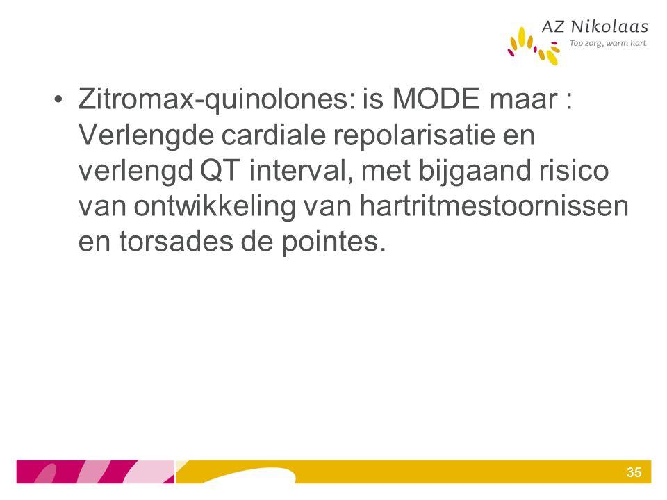 Zitromax-quinolones: is MODE maar : Verlengde cardiale repolarisatie en verlengd QT interval, met bijgaand risico van ontwikkeling van hartritmestoornissen en torsades de pointes.