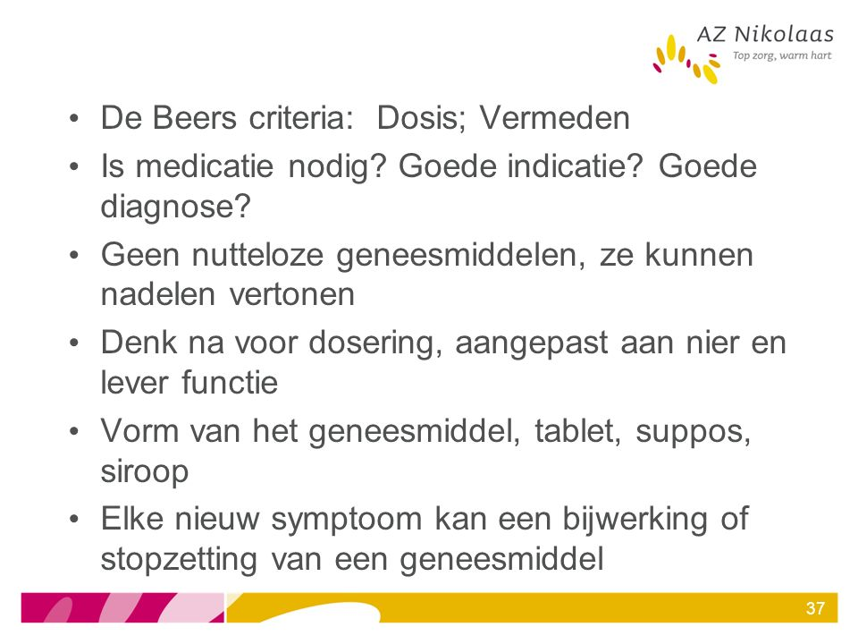 De Beers criteria: Dosis; Vermeden