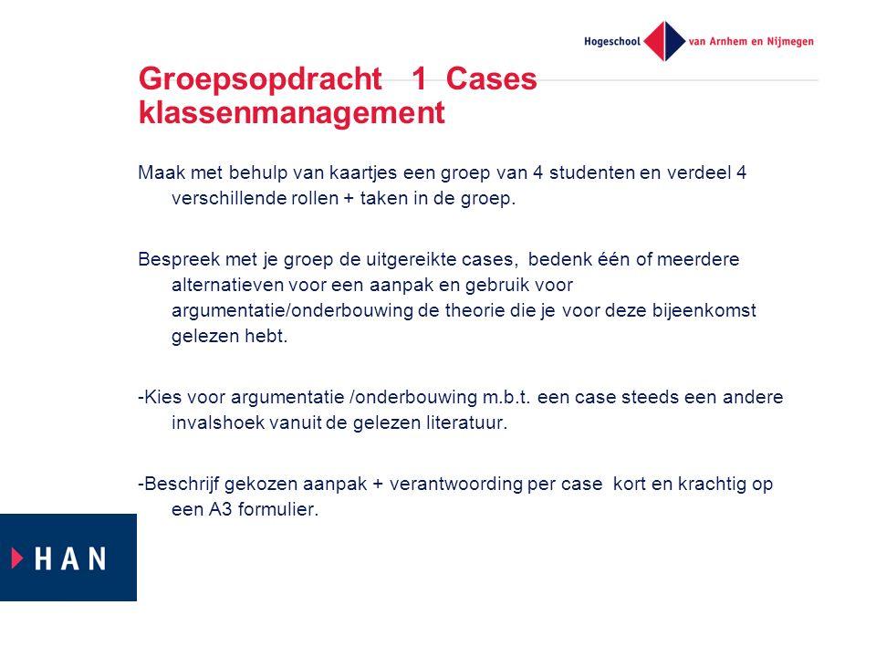 Groepsopdracht 1 Cases klassenmanagement