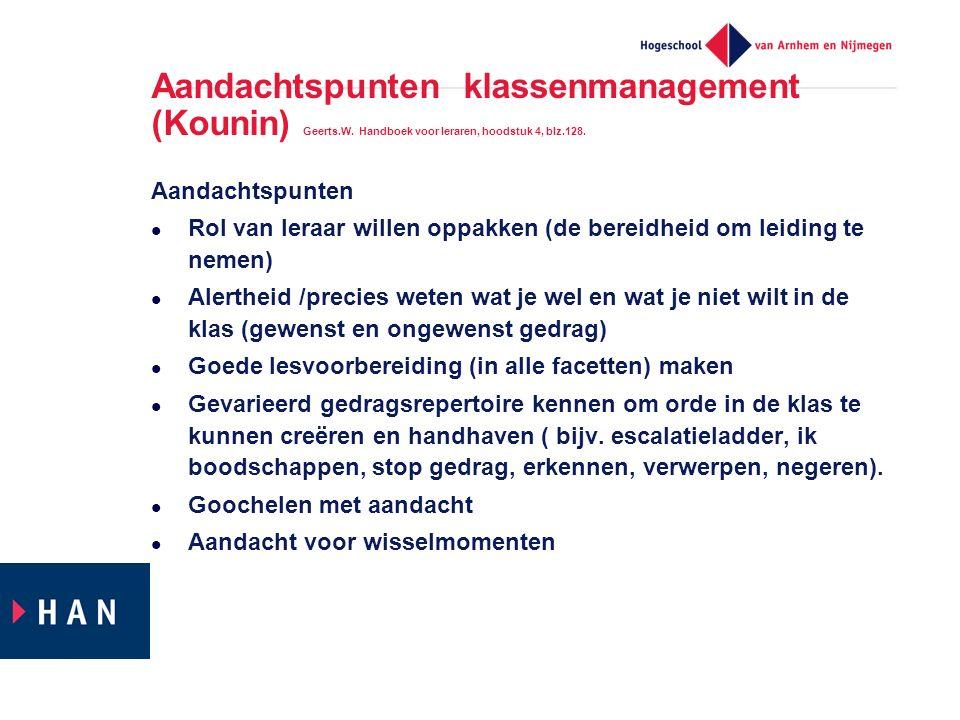 Aandachtspunten klassenmanagement (Kounin) Geerts. W