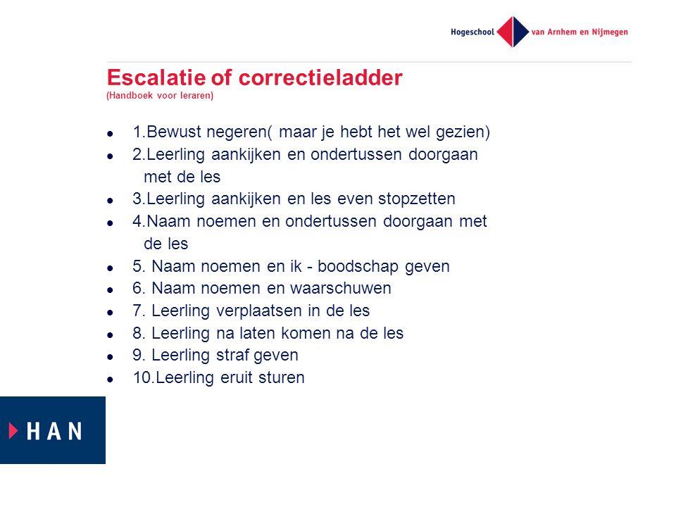 Escalatie of correctieladder (Handboek voor leraren)