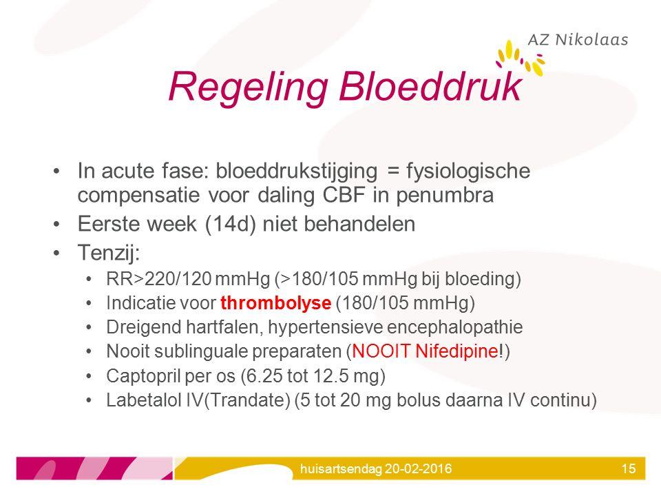 Regeling Bloeddruk In acute fase: bloeddrukstijging = fysiologische compensatie voor daling CBF in penumbra.