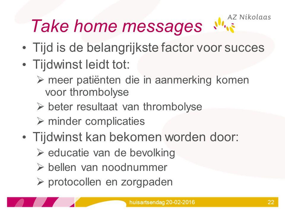 Take home messages Tijd is de belangrijkste factor voor succes