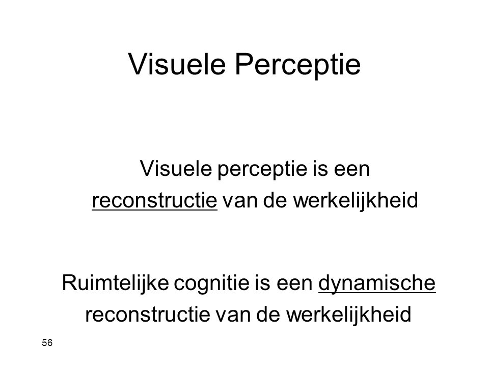 Visuele Perceptie Visuele perceptie is een