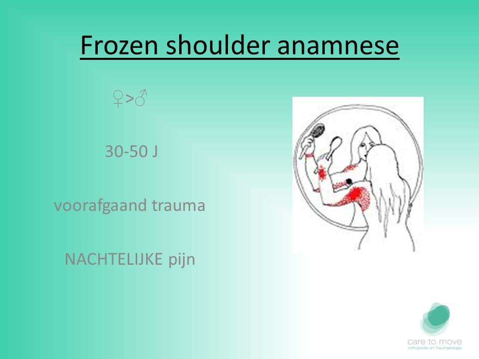 Frozen shoulder anamnese