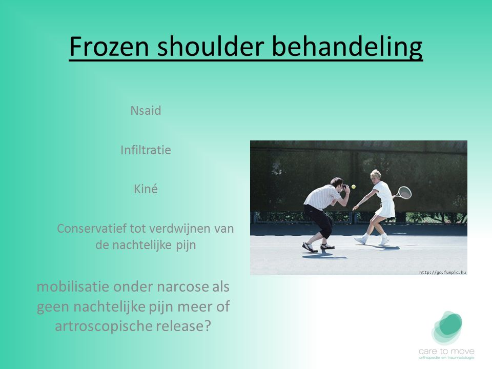Frozen shoulder behandeling