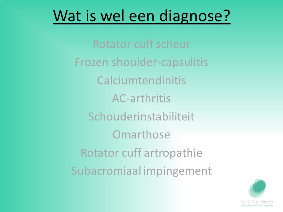 Wat is wel een diagnose Rotator cuff scheur